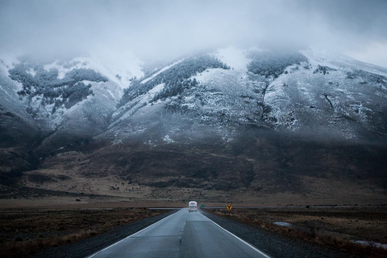 En route Las Glaciares National Park to see the Perito Moreno glacier, El Calafate, Argentina