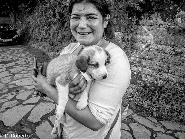 The girl with a puppy