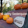 Jack O'Lanterns decorate an old Chevy truck in Apple Hill