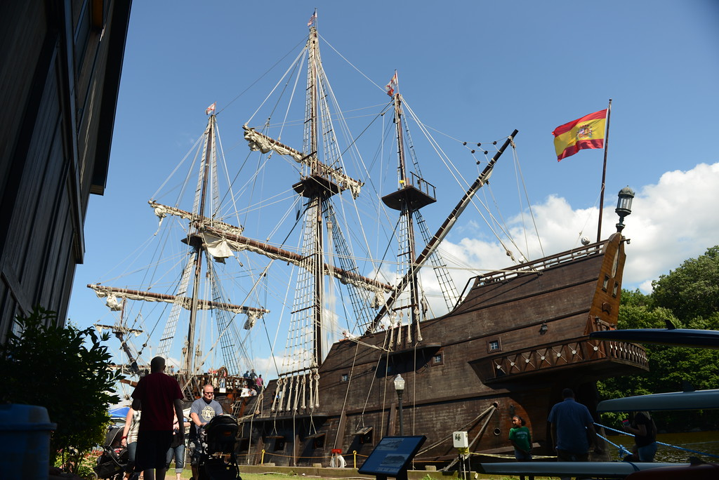 . El Galeon Andalucia, a replica of a Spanish galleon used during the 16-18th centuries,  docked at the Hudson River Maritime Museum in Kingston through Aug. 8, 2017. Daily Freeman photo by Tania Barricklo.