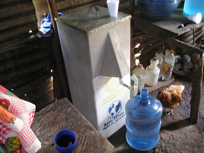 slow sand water filter, installed by Rotary Club of San Miguel, in home in Casa de Zacate