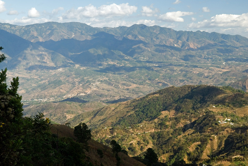 Directly below is the road we were driving on.  The mountains in back are in Honduras.