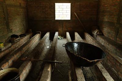 A vat used in refining sugar cane juice to make panela, a sweetener.  El Salvador, 2010