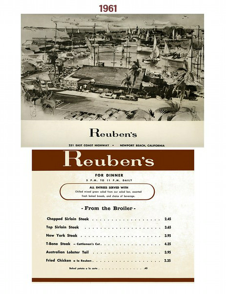 Reuben's Menu, Newport 1961
