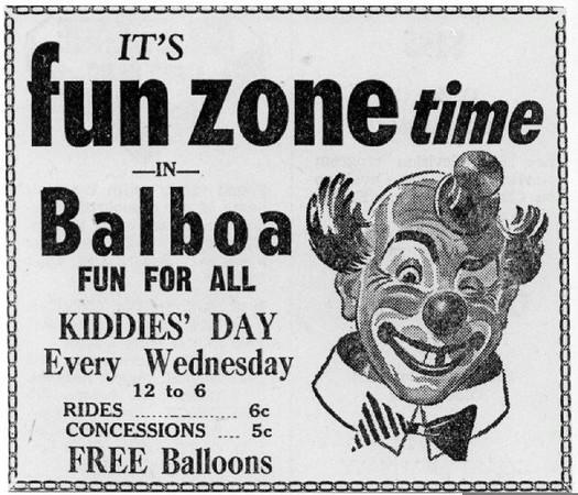 Balboa Fun Zone Advertisement, 1940s (Shared from:  Jeff Powell)