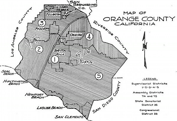 Orange County map of 1952 (Shared from:  Jeff Powell)