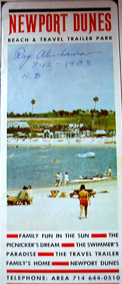 "NEWPORT DUNES!!  Who all went there as a kid??  Remember the Sunday events & Billy Barty & Dance contests & swimming out to the blue fiberglass whale & tossing it from side to side till it tipped over (& ""burned"" our belly's from the fiberglass!) & the Back Bay Walks & Hootenanny's??