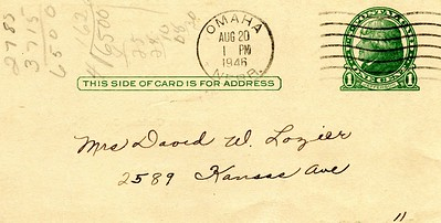 Penny Postcard in case you didn't notice - Aug 20, 1946 - Omaha, Nebraska