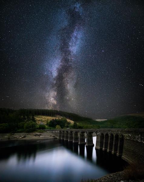 Milkyway Galaxy over Garreg Ddu Dam