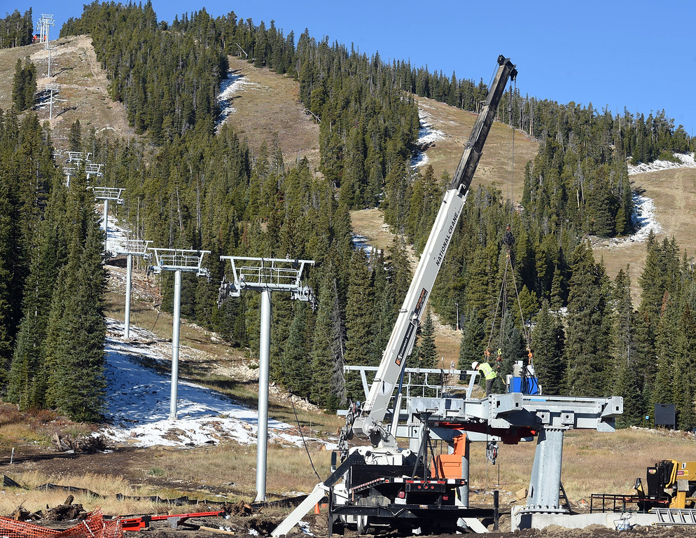 . The bottom tower of the new Alpenglow chairlift is under construction on Thursday. Eldora is unveiling several new amenities (new 6-seat lift, new runs) this season, as part of a multi-million dollar project since the change in ownership. Cliff Grassmick  Staff Photographer October 12, 2017