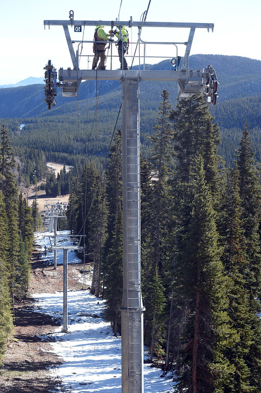 . One of the towers of the new Aspen Glow chairlift is under construction on Thursday. Eldora is unveiling several new amenities (new 6-seat lift, new runs) this season, as part of a multi-million dollar project since the change in ownership. Cliff Grassmick  Staff Photographer October 12, 2017