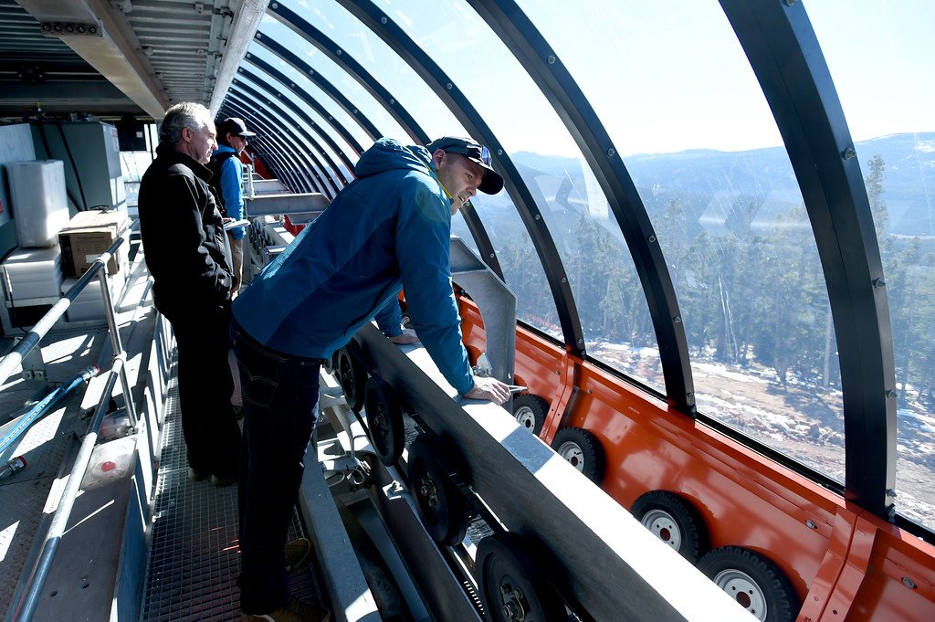 . Brent Tregaskis, left, President and General Manager of Eldora, and Sam Bass, look at the views from the top of the chairlift system. Eldora is unveiling several new amenities (new 6-seat lift, new runs) this season, as part of a multi-million dollar project since the change in ownership. Cliff Grassmick  Staff Photographer October 12, 2017