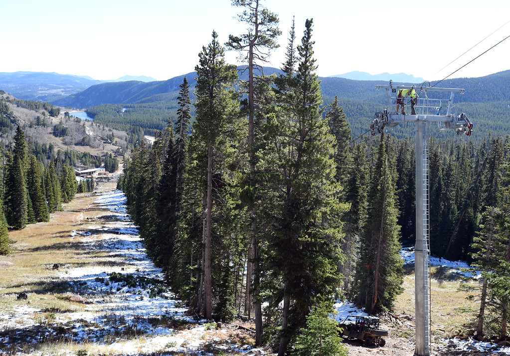 . Cannonball Run on the left and the new chairlift being built on the right. Eldora is unveiling several new amenities (new 6-seat lift, new runs) this season, as part of a multi-million dollar project since the change in ownership. Cliff Grassmick  Staff Photographer October 12, 2017