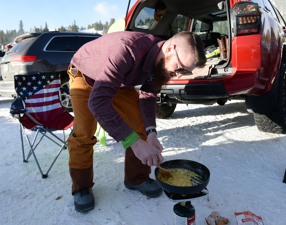 . ELDORA, CO - November 7, 2018:  Royce Bruggeman, of Longmont, makes breakfast burritos before Eldora opens. Eldora Mountain (Eldora) opened for the 2018/19 ski and snowboard season on Wednesday, November 7, 2018, a full nine days ahead of schedule.  (Photo by Cliff Grassmick/Staff Photographer)