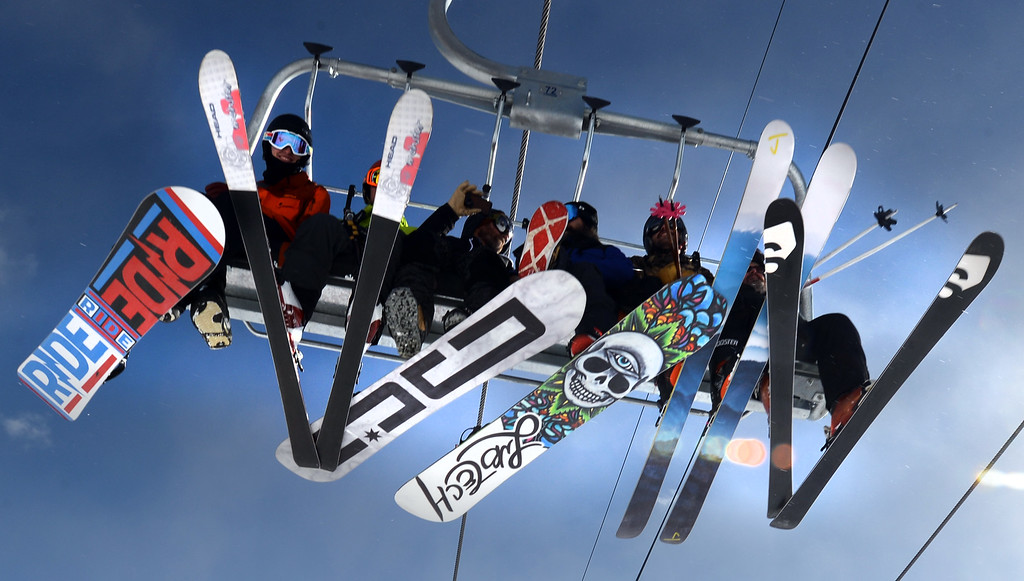 . ELDORA, CO - November 7, 2018:  Skiers and Boarders head up the mountain for their first run. Eldora Mountain (Eldora) opened for the 2018/19 ski and snowboard season on Wednesday, November 7, 2018, a full nine days ahead of schedule.  (Photo by Cliff Grassmick/Staff Photographer)