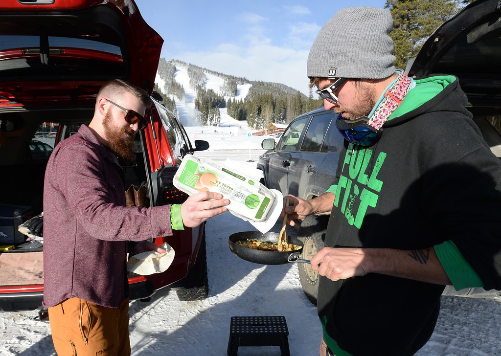 . ELDORA, CO - November 7, 2018: Royce Bruggeman, left, and Joey Teahan, make breakfast burritos before Eldora Mountain (Eldora) opened for the 2018/19 ski and snowboard season on Wednesday, November 7, 2018, a full nine days ahead of schedule.  (Photo by Cliff Grassmick/Staff Photographer)