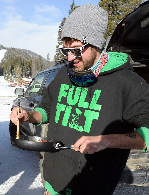 . ELDORA, CO - November 7, 2018: Joey Teahan makes breakfast burritos before the slopes open. Eldora Mountain (Eldora) opened for the 2018/19 ski and snowboard season on Wednesday, November 7, 2018, a full nine days ahead of schedule.  (Photo by Cliff Grassmick/Staff Photographer)