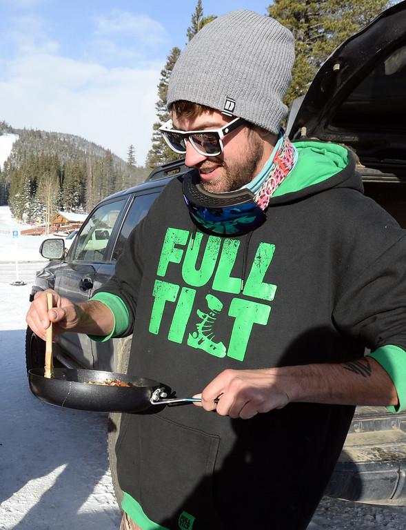. ELDORA, CO - November 7, 2018: Joey Teahan makes breakfast burritos before the slopes open. Eldora Mountain (Eldora) opened for the 2018/19 ski and snowboard season on Wednesday, November 7, 2018, a full nine days ahead of schedule.  (Photo by Cliff Grassmick/Staff Photographer)