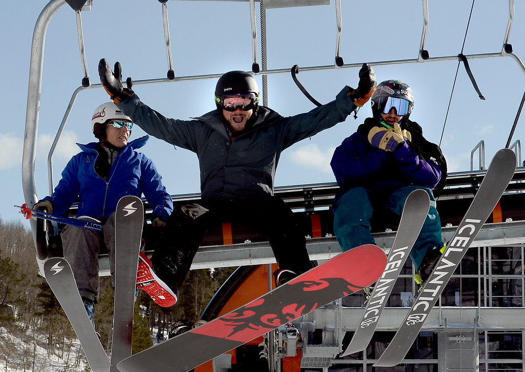 . ELDORA, CO - November 7, 2018:  Taylor Riccio, center, is stoked to go boarding today. Eldora Mountain (Eldora) opened for the 2018/19 ski and snowboard season on Wednesday, November 7, 2018, a full nine days ahead of schedule.  (Photo by Cliff Grassmick/Staff Photographer)