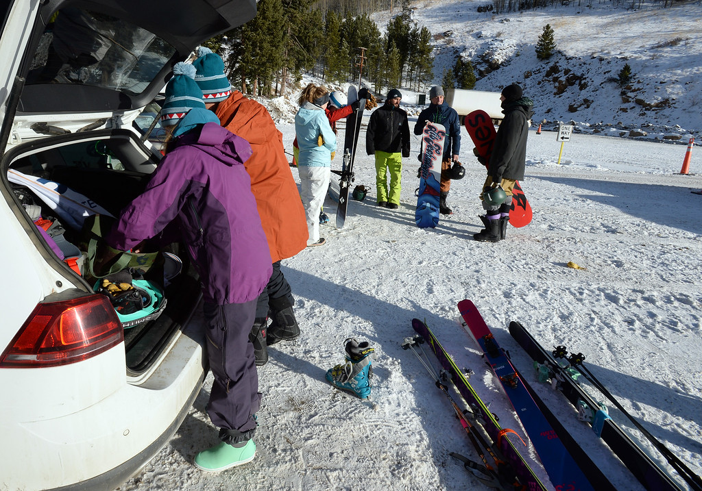 """. ELDORA, CO - November 7, 2018: Members of \""""Protect our Winters,\"""" get ready to take the slopes. Eldora Mountain (Eldora) opened for the 2018/19 ski and snowboard season on Wednesday, November 7, 2018, a full nine days ahead of schedule.  (Photo by Cliff Grassmick/Staff Photographer)"""