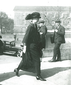 Eleanor Roosevelt and her friend and political associate Esther Lape arrive at the U.S. Capitol to testify before a Senate committee about the Bok Peace Award, which they helped administer, January 1924. Franklin D. Roosevelt Library Archives