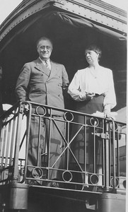 The Roosevelts greet supporters from the back of a train in Savannah, Illinois during a campaign stop, 1932. Franklin D. Roosevelt Library Archives