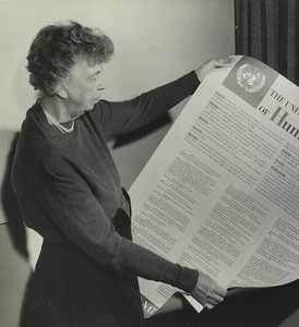 Eleanor Roosevelt holds a copy of the Universal Declaration of Human Rights, 1948. Franklin D. Roosevelt Library Archives