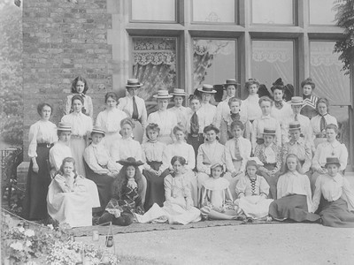 Eleanor Roosevelt with her schoolmates at Allenswood, South Field, England. 1900. Franklin D. Roosevelt Library archives
