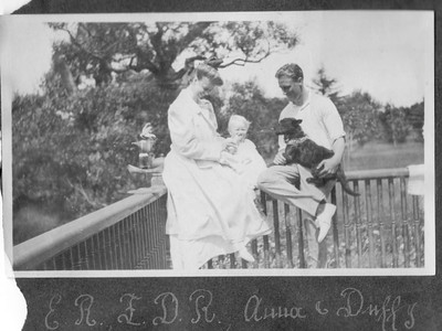 FDR with Eleanor, baby Anna and dog, Duffy at Campobello 1907. Franklin D. Roosevelt Library archives