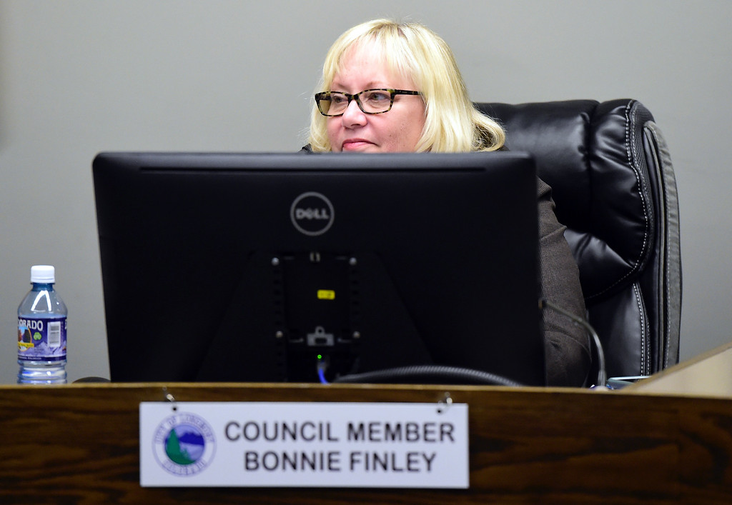 . Longmont City Council member Bonnie Finley during a Longmont City Council meeting on Monday inside the City Council Chambers in Longmont. For more photos of the meeting go to timescall.com Jeremy Papasso/ Staff Photographer 11/13/2017