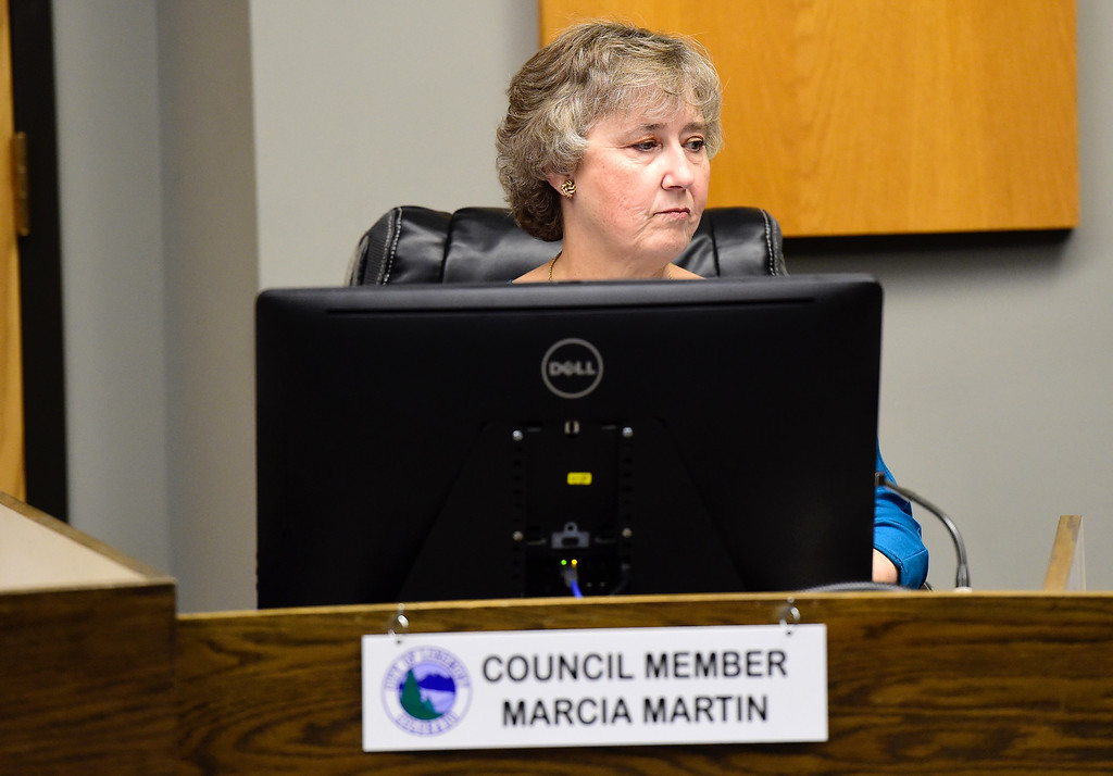 . Newly elected Longmont City Council member Marcia Martin during a Longmont City Council meeting on Monday inside the City Council Chambers in Longmont. For more photos of the meeting go to timescall.com Jeremy Papasso/ Staff Photographer 11/13/2017