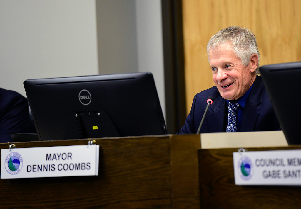 . Former Longmont Mayor Dennis Coombs smiles as he says his good-byes during a Longmont City Council meeting on Monday inside the City Council Chambers in Longmont. For more photos of the meeting go to timescall.com Jeremy Papasso/ Staff Photographer 11/13/2017
