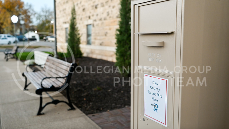 Riley County Ballot Box located outside of the Riley County Treasurer. Tuesday, Nov 3, 2020. (Dylan Connell | Collegian Media Group)