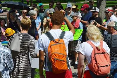 Jill Stein, Green Party candidate for President, surrounded by supporters, speaks at a rally.