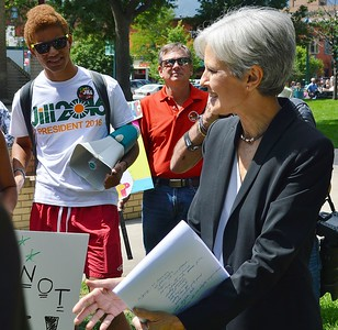 Jill Stein, Green Party candidate for President, speaks to supporters at a rally.