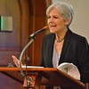 Jill Stein, Green Party candidate for President,  gestures while speaking from a podium at a rally in Colorado Springs.