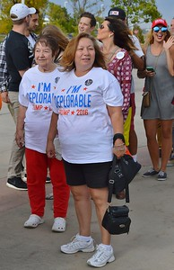 "Two women in line for a Donald Trump rally weraing ""I'm Deplorable"" shirts."