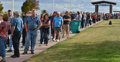 Long line of Donald Trump supporters in line for a campaign rally in Loveland Colorado.