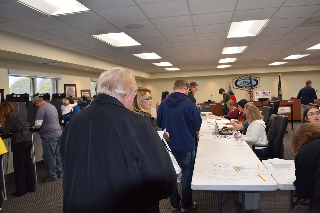 . Township residents vote at the Lyon Township Municipal Center, precincts one and three, 58000 Grand River Avenue, New Hudson, Mich., on Tuesday, Nov. 8, 2016.  (Mark Cavitt/The Oakland Press)