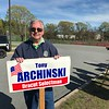 Incumbent Selectman Tony Archinski stands near the entrance to the Justus C. Richardson Middle School in Dracut on Monday. SUN/AMARIS CASTILLO