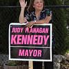 Lynn, Ma. 9-12-17. Mayor Judith Flanagan Kennedy campaigning at Saint Pius V Church in Lynn.