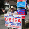 Lynn, Ma. 9-12-17. Ron Worth waves to moterists while holding signs today at Briarcliff Lodge Adult Day on Lynnfield Street.