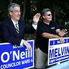 Peabody, Ma. 9-12-17. Mark O'Neill and Ray Melvin campaigning at the Burke School in Peabody