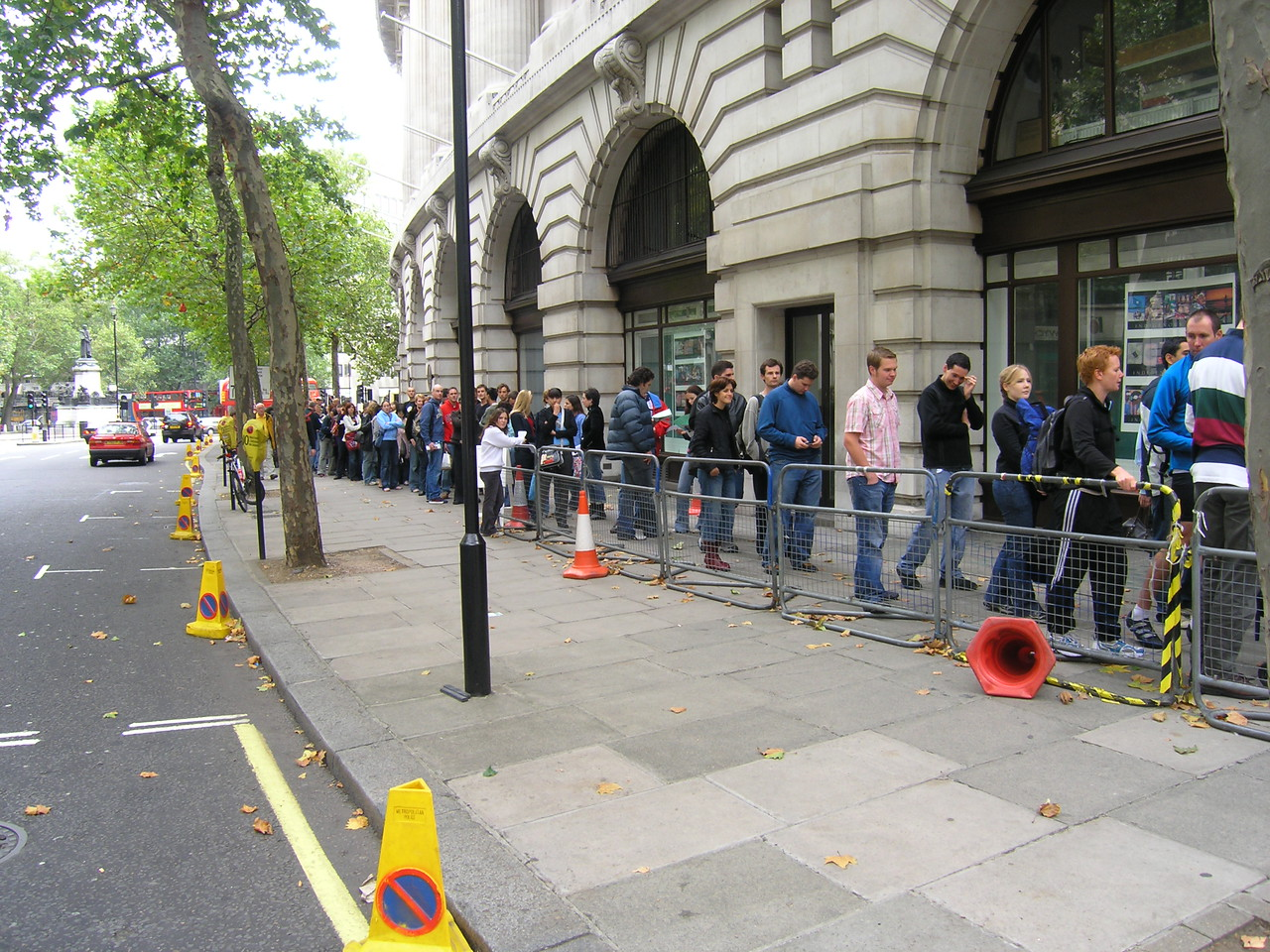 The queue.  It wraps all the way around the embassy