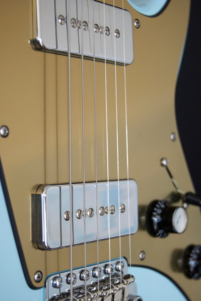 ElectraJet #3190 Sonic Blue, Brushed Gold Pickguard, with Chrome G90's