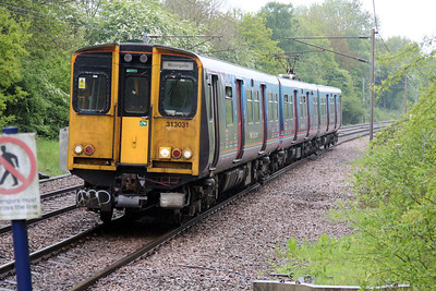 313031 at Bayford heading for Moorgate 28/05/13.