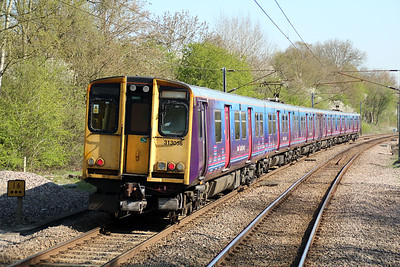 313056 Departs Bayford on a Moorgate-Hertford service. 03/05/13