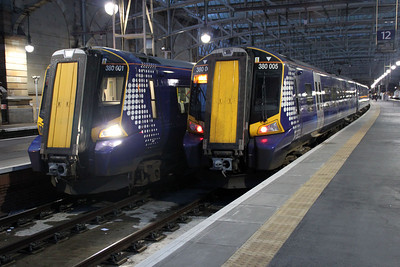 380001 and 380005 at Glasgow Central.