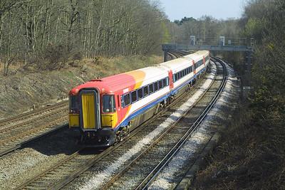 Class 442 'Wessex Express', 2414 heads south away from Pirbright Junction on 04/04/2003.