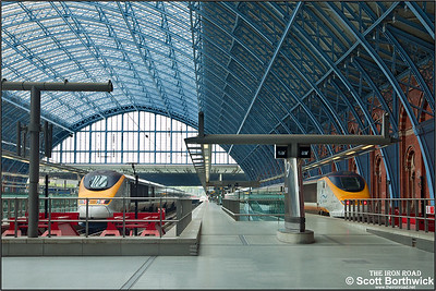 Underneath William Henry Barlow's magnificently restored trainshed at London St Pancras, 3003 (left) forms 9030 1402 London St Pancras International-Paris Gare du Nord whilst 3209 (right) forms 9138 1434 London St Pancras International-Brussels Midi on 16/10/2011.